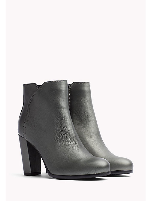 TOMMY JEANS Metallic Leather Ankle Boot - PEWTER - TOMMY JEANS Shoes - main image