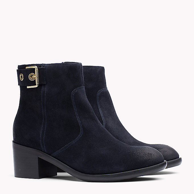 TOMMY HILFIGER Suede Ankle Boot - BLACK - TOMMY HILFIGER Shoes - main image