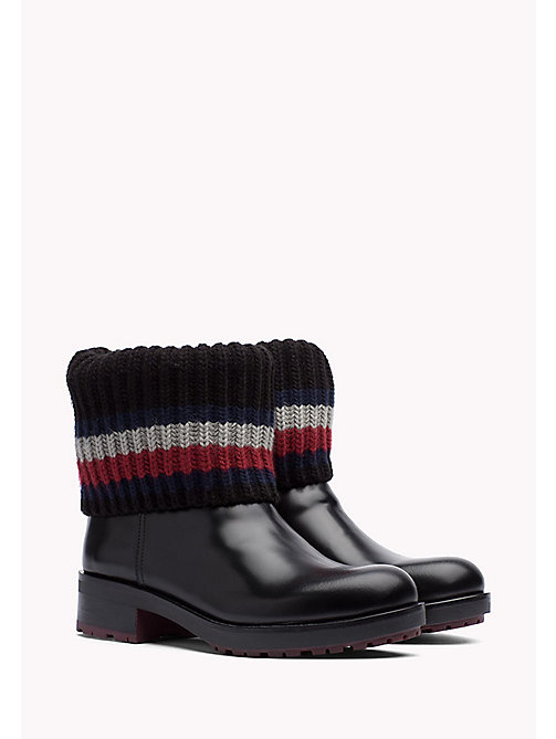 TOMMY HILFIGER Leather Ankle Boot - BLACK - TOMMY HILFIGER Shoes - main image