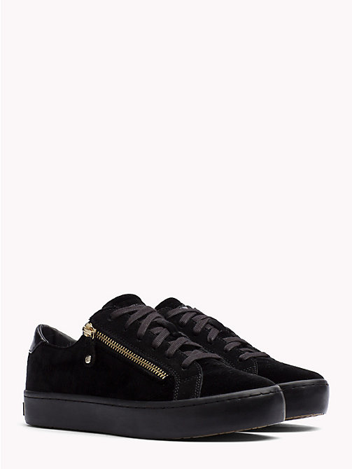 TOMMY HILFIGER Zipped Velvet Trainers - BLACK - TOMMY HILFIGER Trainers - main image