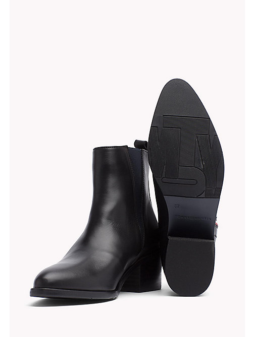 TOMMY HILFIGER Leather Ankle Boot - BLACK - TOMMY HILFIGER Boots & Ankle Boots - detail image 1