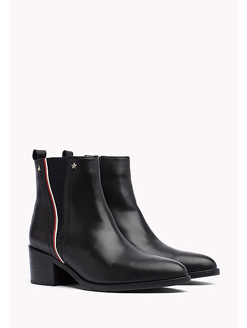 TOMMY HILFIGER Leather Ankle Boot - BLACK -  Boots - main image