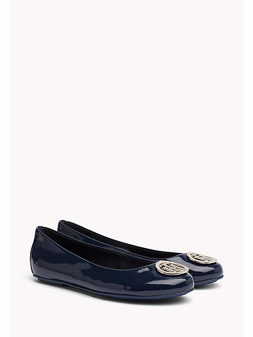TOMMY HILFIGER Metallic Leather Ballerina - TOMMY NAVY - TOMMY HILFIGER Flat Shoes - main image