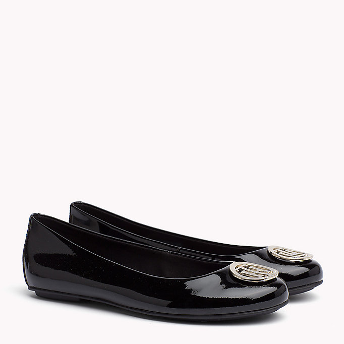 TOMMY HILFIGER Metallic Leather Ballerina - TOMMY NAVY - TOMMY HILFIGER Women - main image