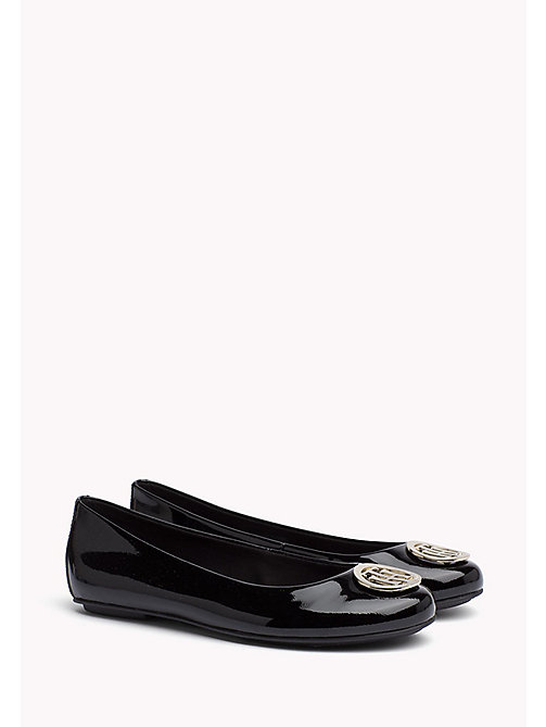 TOMMY HILFIGER Metallic Leather Ballerina - BLACK - TOMMY HILFIGER Flat Shoes - main image