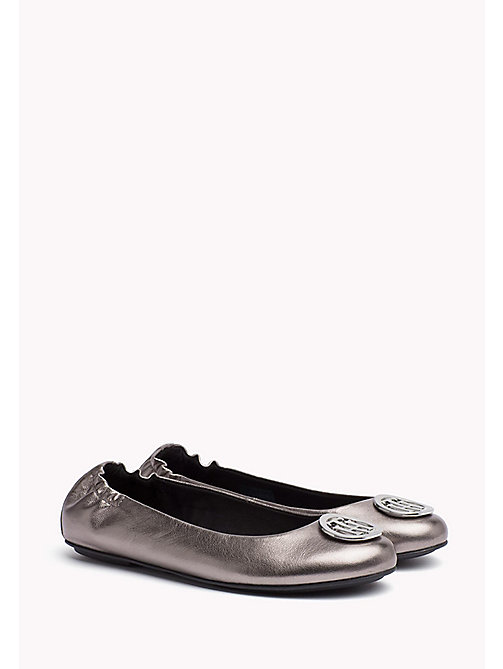 TOMMY HILFIGER Metallic Leather Ballerina - DARK SILVER - TOMMY HILFIGER Flat Shoes - main image