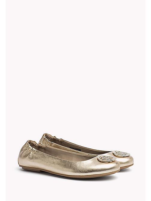 TOMMY HILFIGER Metallic Leather Ballerina - MEKONG - TOMMY HILFIGER Flat Shoes - main image