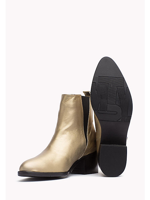 TOMMY HILFIGER Metallic Leather Ankle Boot - LIGHT GOLD - TOMMY HILFIGER Boots - detail image 1