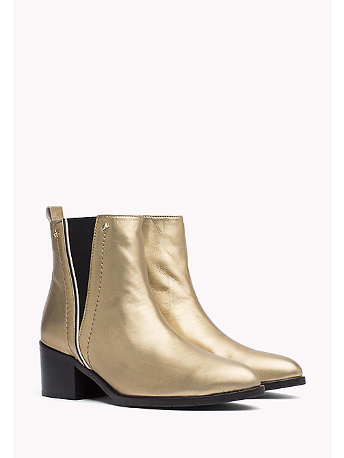 TOMMY HILFIGER Metallic Leather Ankle Boot - LIGHT GOLD - TOMMY HILFIGER Boots - main image