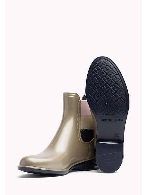 TOMMY HILFIGER Metallic Ankle Rain Boot - LIGHT GOLD - TOMMY HILFIGER Boots & Ankle Boots - detail image 1