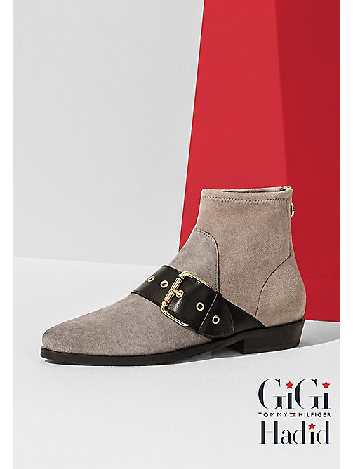 TOMMY HILFIGER Suede Ankle Boot Gigi Hadid - LIGHT GREY - TOMMY HILFIGER Shoes - main image