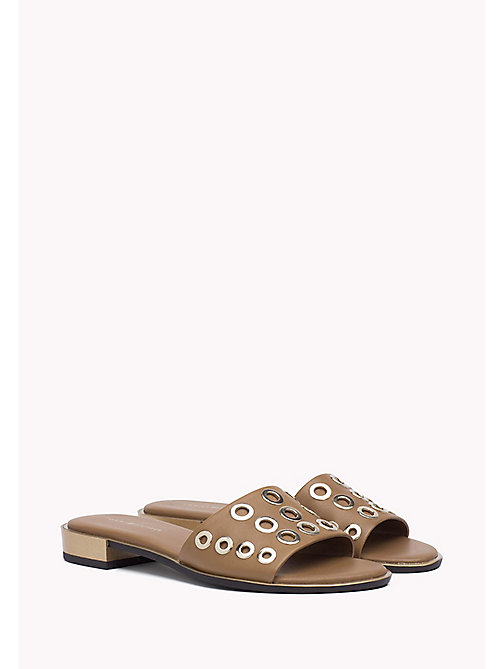 TOMMY HILFIGER Metallic Mule Sandals - SUMMER COGNAC -  Shoes - main image