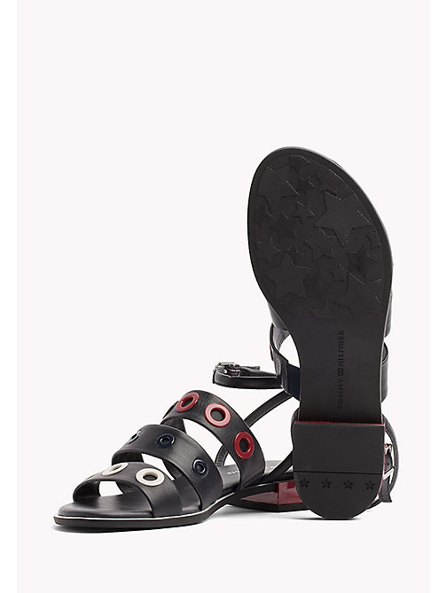 TOMMY HILFIGER Strappy Eyelet Sandals - MIDNIGHT - TOMMY HILFIGER Flat Sandals - detail image 1
