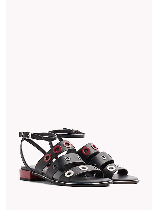 TOMMY HILFIGER Strappy Eyelet Sandals - MIDNIGHT - TOMMY HILFIGER Flat Sandals - main image