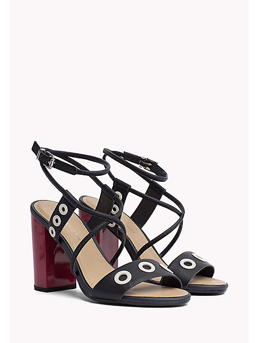 TOMMY HILFIGER Heeled Eyelet Leather Sandals - MIDNIGHT - TOMMY HILFIGER Summer shoes - main image