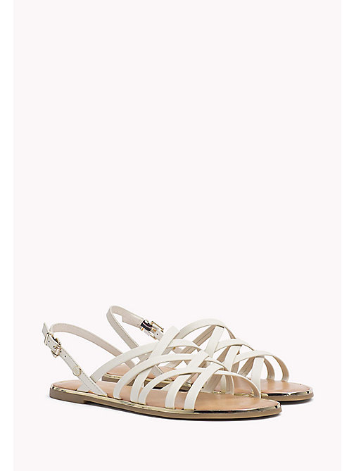 TOMMY HILFIGER Leather Gladiator Strap Sandals - WHISPER WHITE - TOMMY HILFIGER Flat Sandals - main image