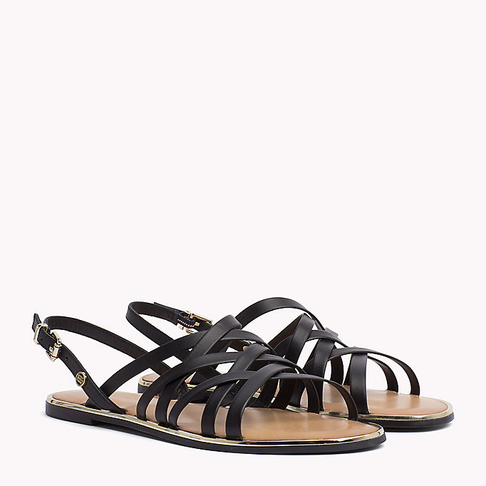 TOMMY HILFIGER Leather Gladiator Strap Sandals - WHISPER WHITE - TOMMY HILFIGER Women - main image