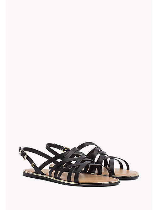 TOMMY HILFIGER Leather Gladiator Strap Sandals - BLACK - TOMMY HILFIGER Flat Sandals - main image
