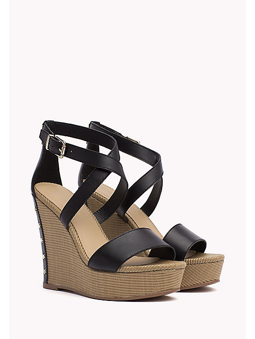 TOMMY HILFIGER Studded Leather Wedge Sandals - BLACK - TOMMY HILFIGER Wedges - main image
