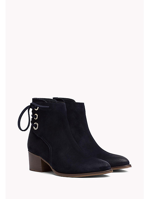 TOMMY HILFIGER Suede Eyelet Boots - MIDNIGHT - TOMMY HILFIGER Shoes - main image