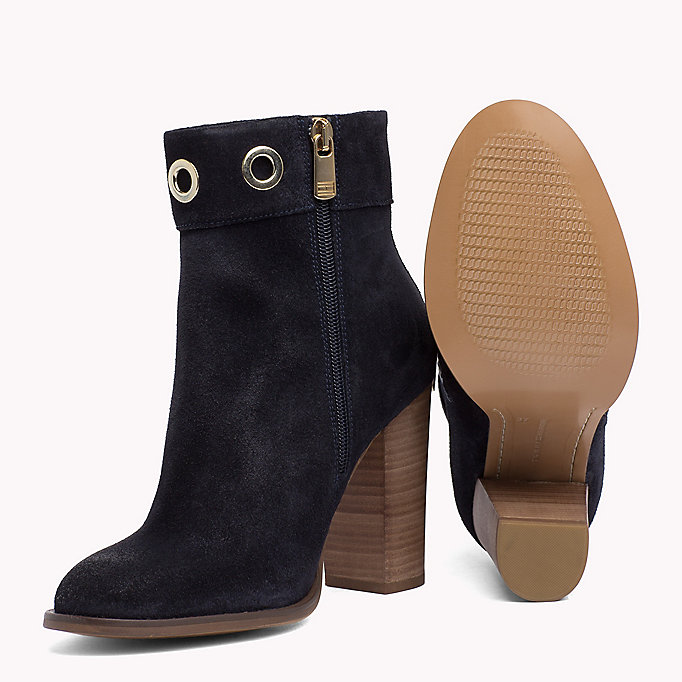TOMMY HILFIGER Suede Eyelet Ankle Boots - SUMMER COGNAC - TOMMY HILFIGER SCHUHE - main image 1