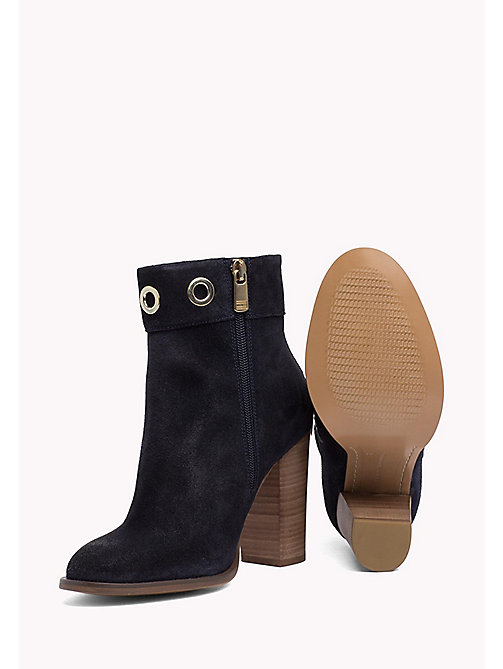 TOMMY HILFIGER Suede Eyelet Ankle Boots - MIDNIGHT - TOMMY HILFIGER Shoes - detail image 1