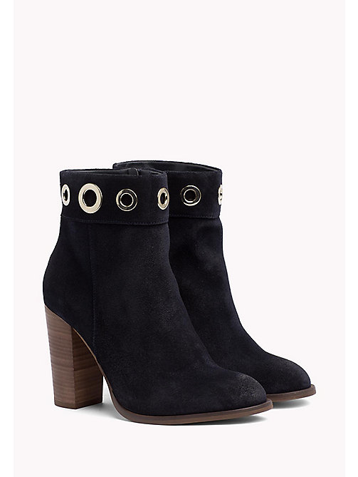 Suede Eyelet Ankle Boots - MIDNIGHT - TOMMY HILFIGER Shoes - main image