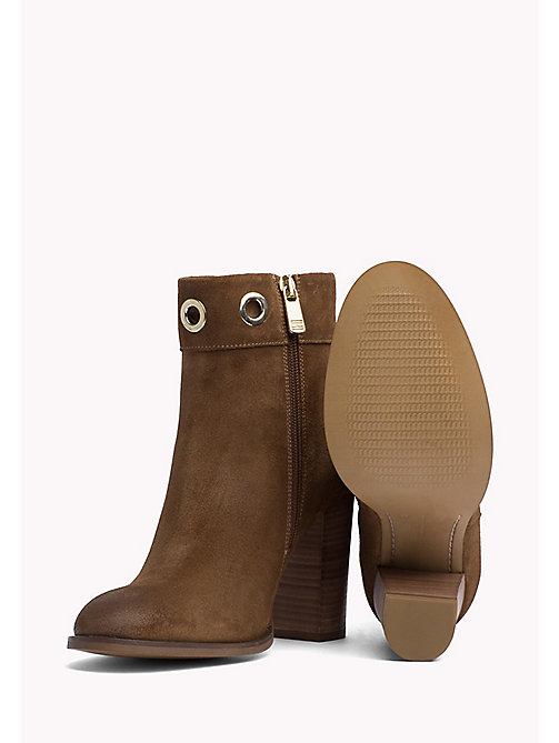 Suede Eyelet Ankle Boots - SUMMER COGNAC - TOMMY HILFIGER Shoes - detail image 1