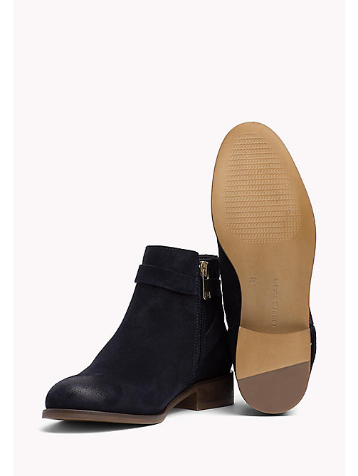 TOMMY HILFIGER Suede Eyelet Strap Ankle Boots - MIDNIGHT - TOMMY HILFIGER Stiefel & Stiefeletten - main image 1