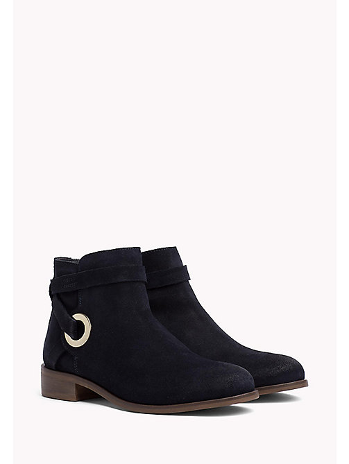TOMMY HILFIGER Suede Eyelet Strap Ankle Boots - MIDNIGHT - TOMMY HILFIGER Bottes - image principale