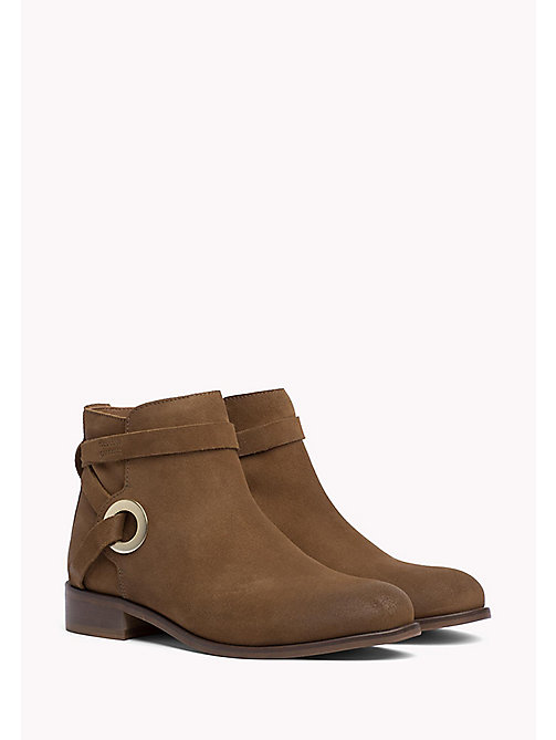 TOMMY HILFIGER Suede Eyelet Strap Ankle Boots - SUMMER COGNAC - TOMMY HILFIGER Shoes - main image