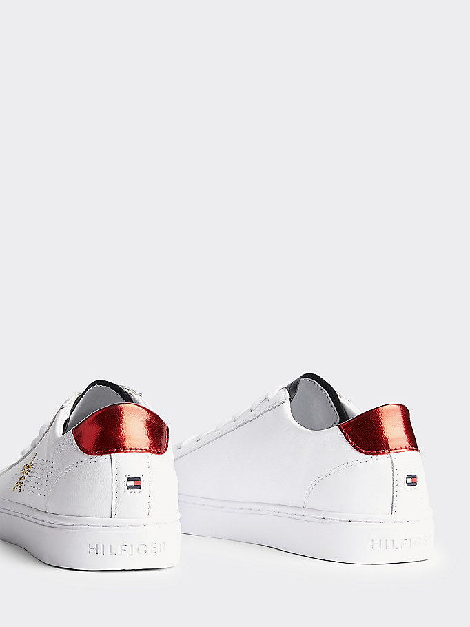 TOMMY HILFIGER Leather Diamante Logo Trainers - WHITE-MEKONG - TOMMY HILFIGER Обувь - подробное изображение 1