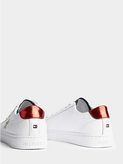 TOMMY HILFIGER Leather Diamante Logo Trainers - RWB - TOMMY HILFIGER Athleisure - detail image 1