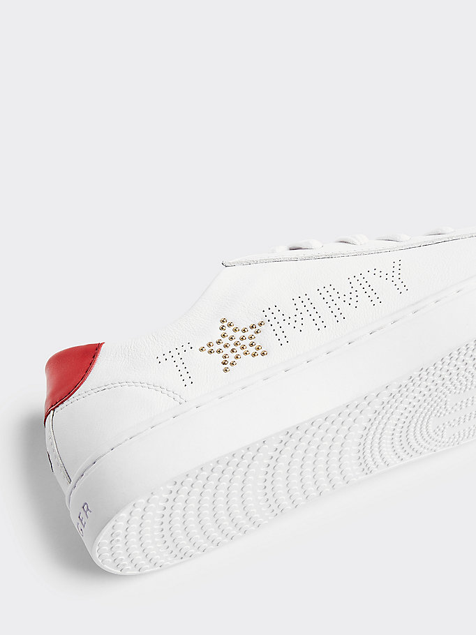 TOMMY HILFIGER Leather Diamante Logo Trainers - WHITE-MEKONG - TOMMY HILFIGER Women - detail image 2
