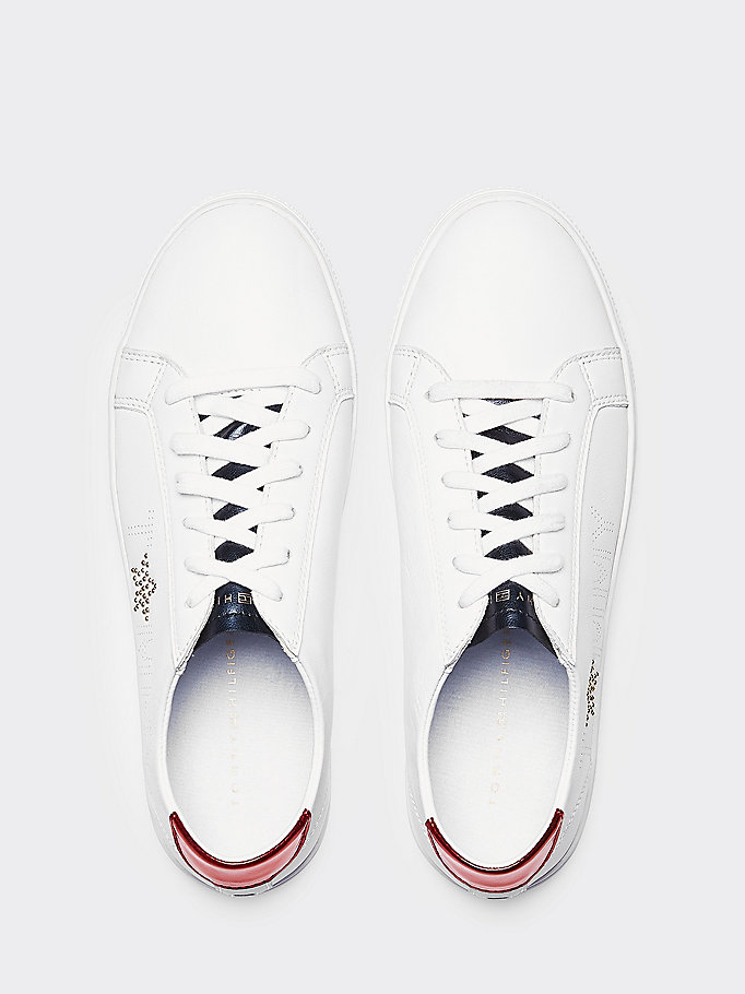 TOMMY HILFIGER Leather Diamante Logo Trainers - WHITE-MEKONG - TOMMY HILFIGER Women - detail image 3
