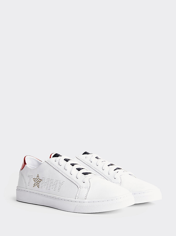 TOMMY HILFIGER Leather Diamante Logo Trainers - WHITE-MEKONG - TOMMY HILFIGER Women - main image
