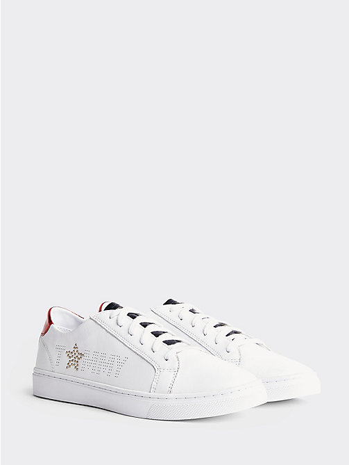TOMMY HILFIGER Leather Diamante Logo Trainers - RWB -  Sustainable Evolution - image principale