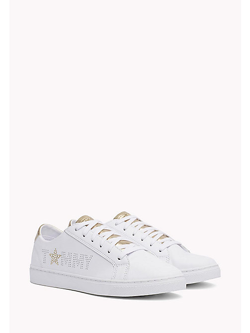 Leather Diamante Logo Trainers - WHITE-MEKONG - TOMMY HILFIGER Schoenen - main image