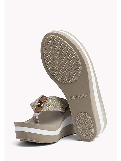 TOMMY HILFIGER Metallic Wedge Flip-Flops - COBBLESTONE - TOMMY HILFIGER Summer shoes - detail image 1