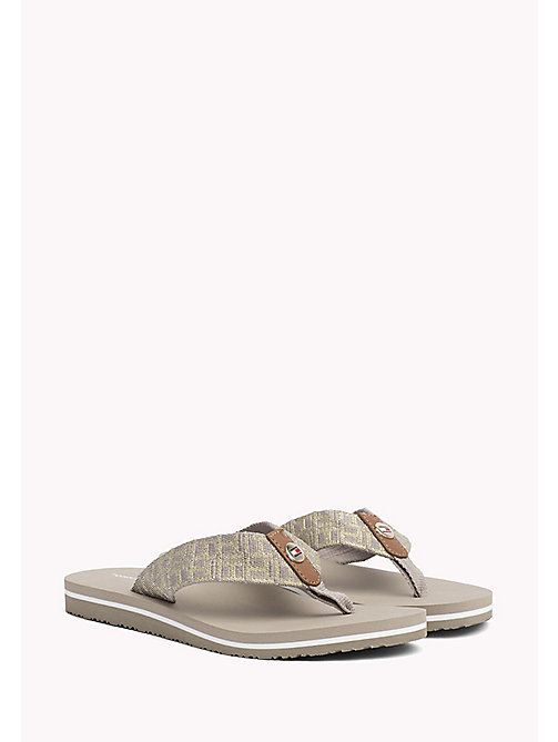 TOMMY HILFIGER Metallic Beach Sandals - COBBLESTONE - TOMMY HILFIGER VACATION FOR HER - main image