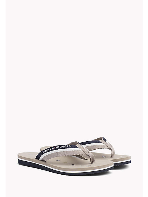 TOMMY HILFIGER Webbing Beach Sandals - COBBLESTONE - TOMMY HILFIGER Tongs & Sliders - image principale