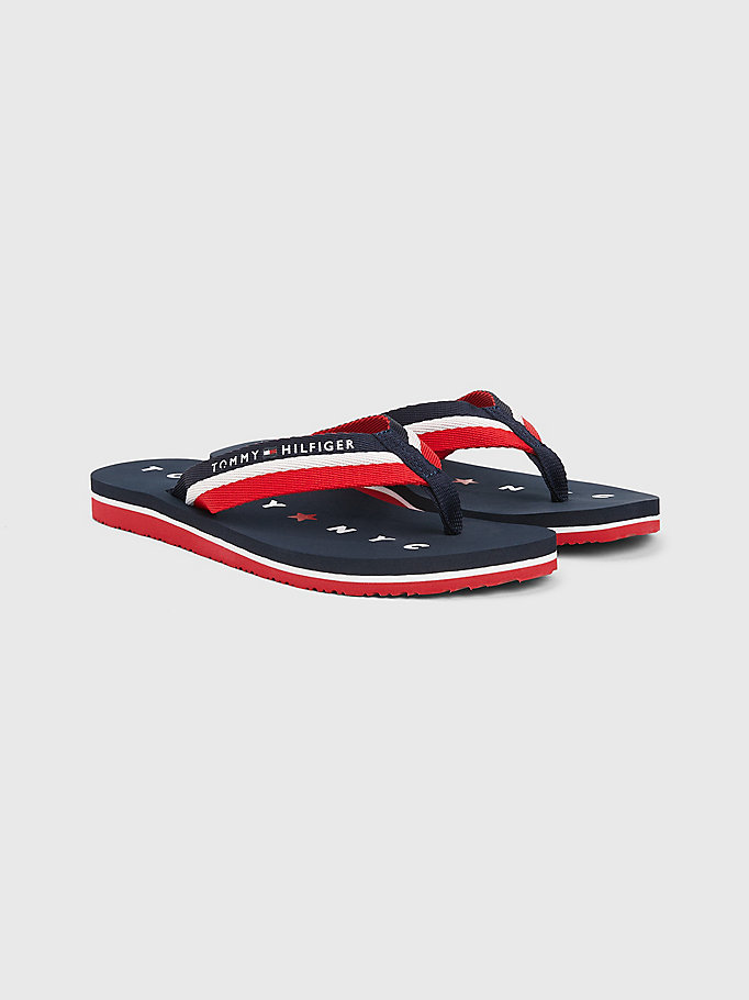 blue webbing beach sandals for women tommy hilfiger