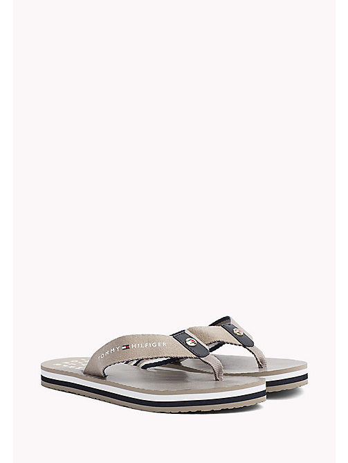 TOMMY HILFIGER Logo Beach Sandals - COBBLESTONE - TOMMY HILFIGER VACATION FOR HER - main image