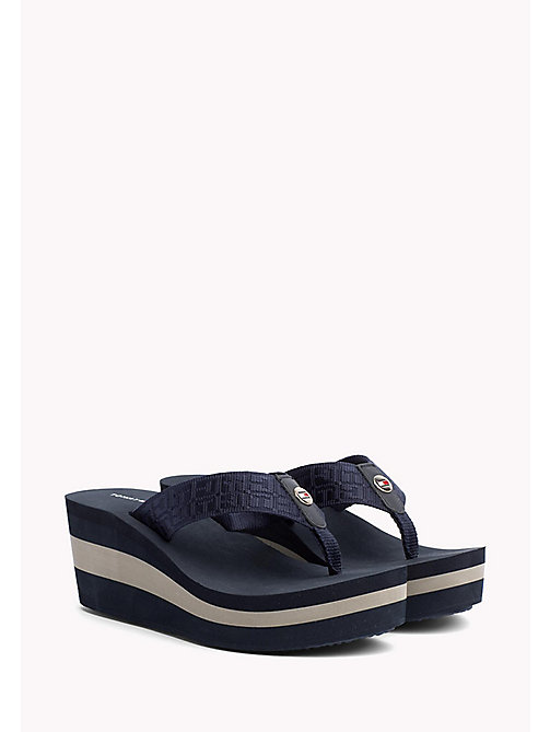 TOMMY HILFIGER Logo Strap Wedge Sandals - MIDNIGHT - TOMMY HILFIGER Flip Flops & Sliders - main image
