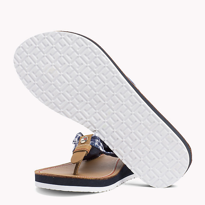 TOMMY HILFIGER Check Print Beach Sandals - TAPIOCA FLORAL CHECK - TOMMY HILFIGER SHOES - detail image 1