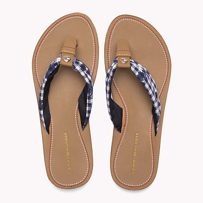 TOMMY HILFIGER Check Print Beach Sandals - TAPIOCA FLORAL CHECK - TOMMY HILFIGER SHOES - detail image 3
