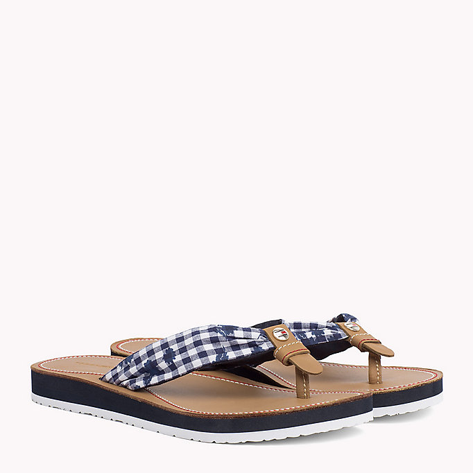 TOMMY HILFIGER Check Print Beach Sandals - TAPIOCA FLORAL CHECK - TOMMY HILFIGER SHOES - main image