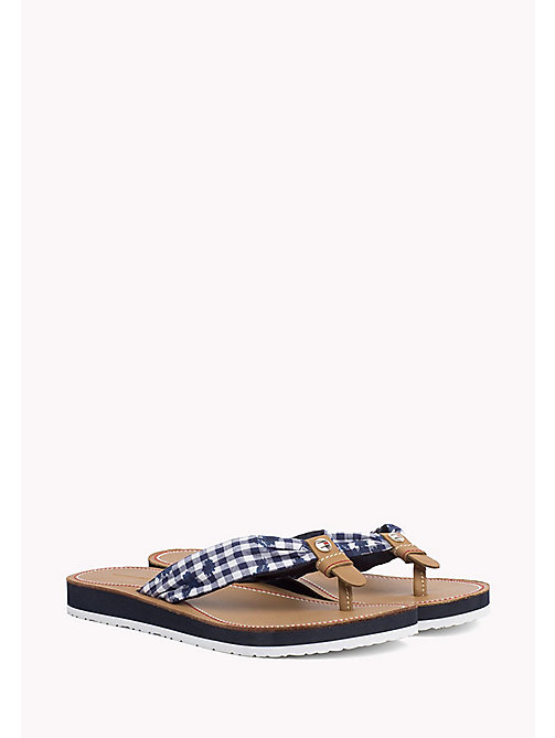 TOMMY HILFIGER Check Print Beach Sandals - MIDNIGHT FLORAL CHECK - TOMMY HILFIGER Flip Flops & Sliders - main image