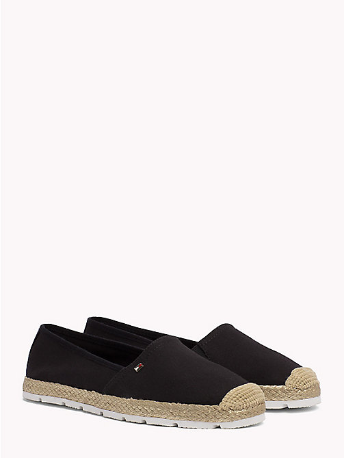 TOMMY HILFIGER Flat Cotton Espadrilles - BLACK - TOMMY HILFIGER Shoes - main image