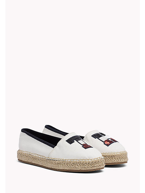 TOMMY HILFIGER Sequinned Logo Espadrilles - WHISPER WHITE - TOMMY HILFIGER SHOES - main image